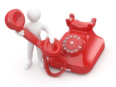 telephone: P�ngase en contacto con nosotros. Hombre con tel�fono sobre fondo blanco aislado. 3D
