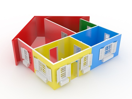 Abstract plan of home, on white isolated background. 3d photo