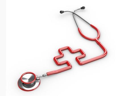 cruz roja: Estetoscopio como s?olo de la medicina sobre fondo blanco aislado. 3D