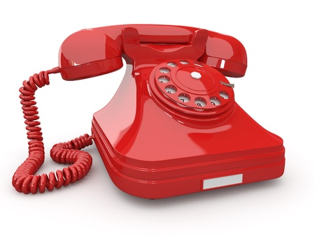 retro phone: Old-fashioned phone on white isolated background. 3d