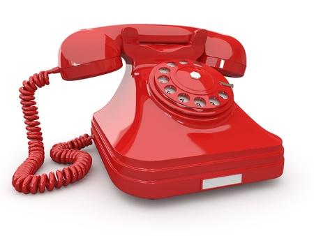 telefono antico: Old-Fashioned telefono su sfondo bianco e isolato. 3D Archivio Fotografico