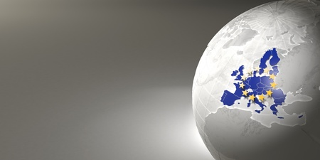 Map of the European Union on Earth. 3d photo