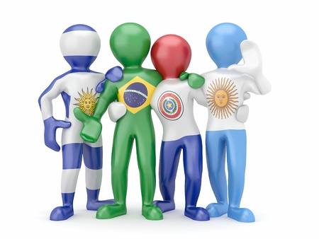paraguay: Mercosur. People in color of national flag of Brazil, Argentina, Uruguay, Paraguay. 3d Stock Photo