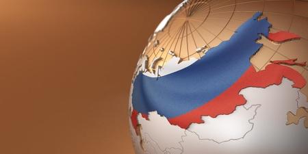 russland karte: Karte von Russland auf der Erde in den nationalen Farben. 3D Lizenzfreie Bilder