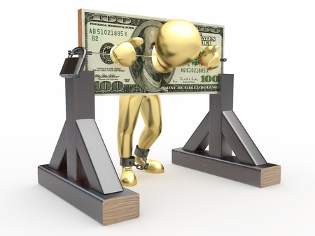 Man being held hostage by money. 3d Stock Photo - 9916895