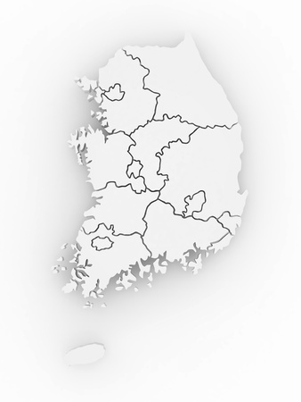 Three-dimensional map of Southern Korea on white isolated background. 3d