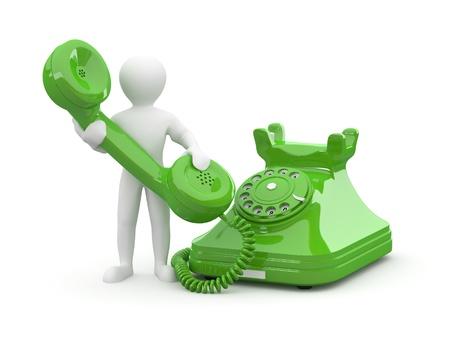 Neem contact op met ons. Man met telefoon op geïsoleerde witte achtergrond. 3D Stockfoto