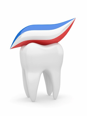 cleaning teeth: Tooth and tooth-paste on white isolated background. 3d Stock Photo