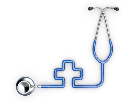equipos medicos: Estetoscopio como símbolo de la medicina sobre fondo blanco aislado. 3D Foto de archivo