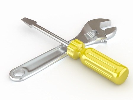 computer repairing: Wrench and screwdriver. Tools on white isolated background. 3d