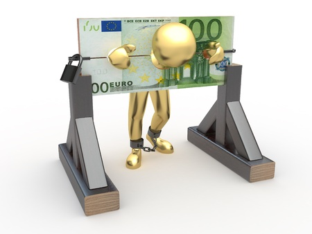 Man being held hostage by money. 3d Stock Photo - 10047475