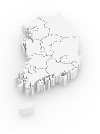 Carte tridimensionnelle de la Corée du Sud sur fond blanc isolé. 3d
