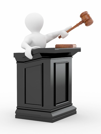Men with gavel on white isolated background. 3d photo