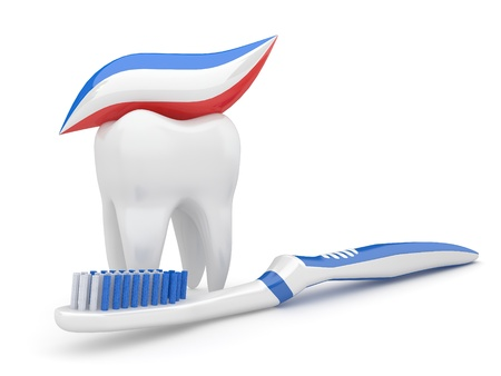 cleanliness: Tooth and toothbrush on white isolated background. 3d Stock Photo