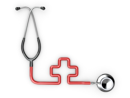 Stethoscope as symbol of medicine on white isolated background. 3d photo