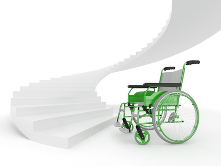 difficult decision: Wheelchair and stairs on white background. Difficult decision. 3d Stock Photo
