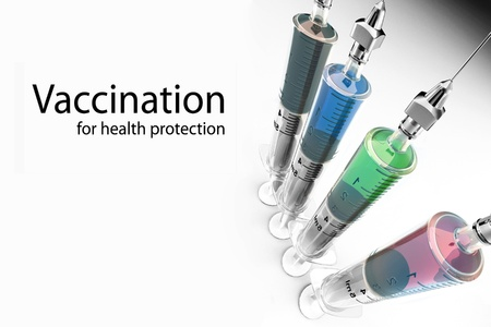 Vaccination. Syringes with vaccine and space for text. 3d photo