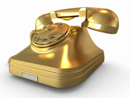 old fashioned rotary phone: Golden phone on white isolated background. 3d Stock Photo