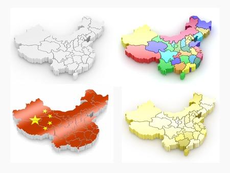 mapa china: Mapa de China sobre fondo blanco aislado. 3D