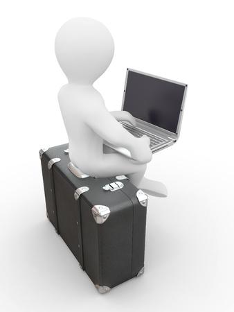 persona viajando: El hombre con el portátil en el equipaje. 3d