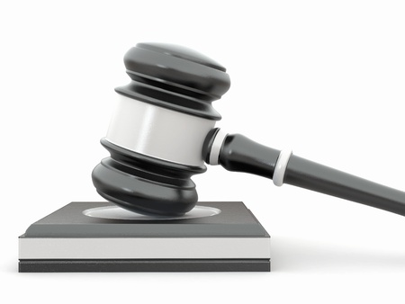 mallet: Judge gavel on white isolaed background. 3d