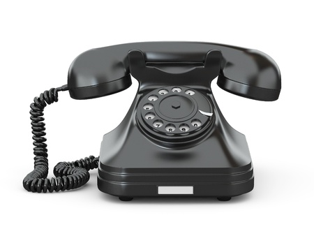 phone number: Old-fashioned phone on white isolated background. 3d