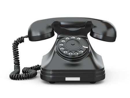old technology: Old-fashioned telefono isolato su sfondo bianco. 3d Archivio Fotografico