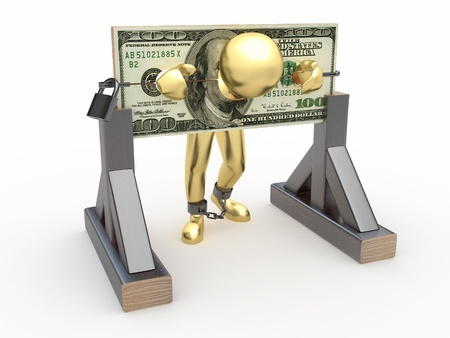 payoff: Man being held hostage by money. 3d Stock Photo
