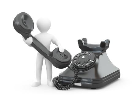 telefono caricatura: P�ngase en contacto con nosotros. Hombre con tel�fono sobre fondo blanco aislado. 3D