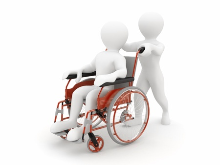 hospital dibujo animado: Hombre en silla de ruedas sobre fondo blanco aislado. 3D
