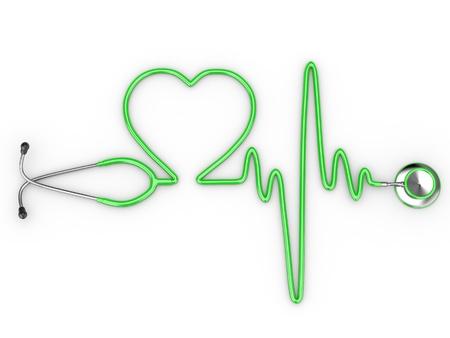 estetoscopio corazon: Estetoscopio y una silueta del corazón y ECG. 3D