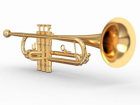 Gouden trompet op witte geïsoleerde achtergrond. 3d Stockfoto