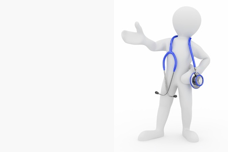 medical personnel: Men with stethoscope on white isolated background. 3d Stock Photo