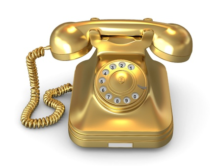 rotary phone: Golden phone on white isolated background. 3d Stock Photo