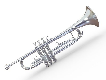 Silver trumpet on white isolated background. 3d
