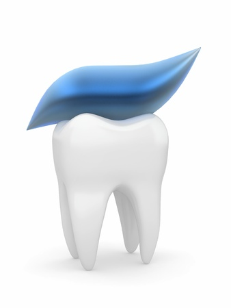 Tooth and tooth-paste on white isolated background. 3d photo