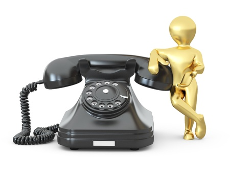 Contact us. Man with phone on white isolated background. 3d photo