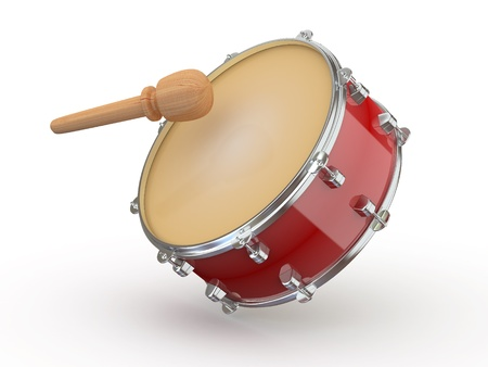 snare: Drum and drumstick on white isolated background. 3d