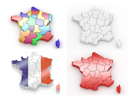 extruded: Three-dimensional map of France on white isolated background. 3d