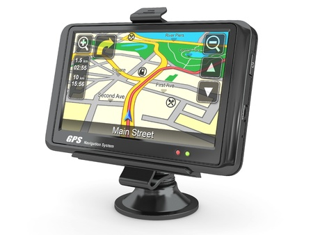 electronic guide: Navigation system. Gps on white isolated background. 3d Stock Photo