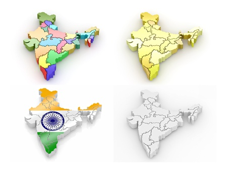 Three-dimensional map of India on white isolated background. 3d photo