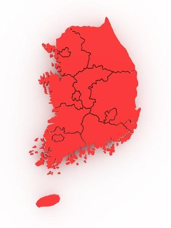 sur: Mapa tridimensional de Corea del Sur sobre fondo blanco aislado. 3D