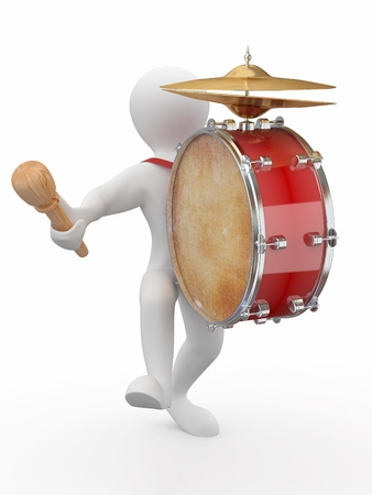 Man with drum and drumstick on white isolated background. 3d Stock Photo - 10274632