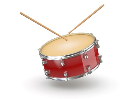 drum: Drum and drumsticks on white isolated background. 3d