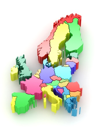 european culture: Three-dimensional map of Europe on white isolated background. 3d Stock Photo