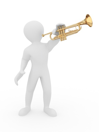 trumpeter: Man with trumpet on white isolated background. 3d
