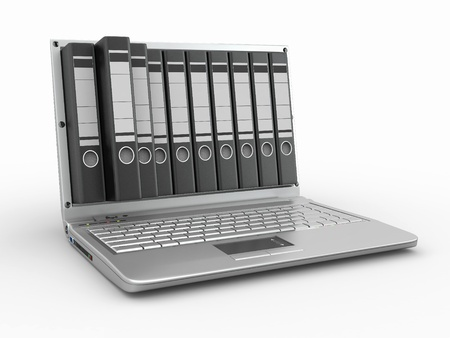 data backup: Archive. Laptop with folders instead of the screen. 3d Stock Photo