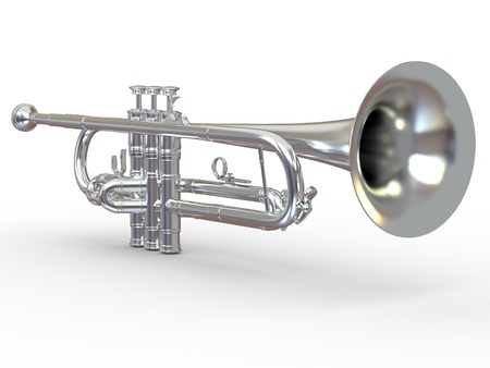 cornet: Silver trumpet on white isolated background. 3d