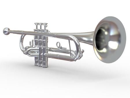Trompeta de plata sobre fondo blanco aisladas. 3d Foto de archivo