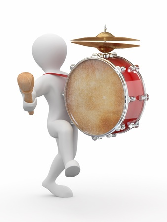 drumming: Man with drum and drumstick on white isolated background. 3d